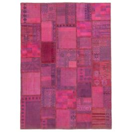Hand-knotted Anatolian Pink Wool Patchwork Rug