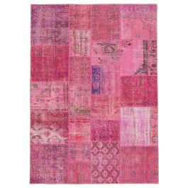 Hand-knotted Oriental Pink Traditional Patchwork Carpet