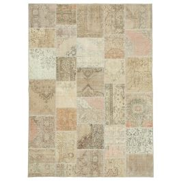 Hand-knotted Oriental Beige Faded Patchwork Carpet
