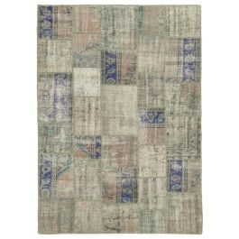 Handwoven Anatolian Grey Distressed Patchwork Rug