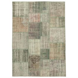 Handwoven Turkish Grey Over-dyed Patchwork Rug