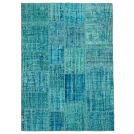 Hand-knotted Anatolian Turquoise Distressed Patchwork Carpet