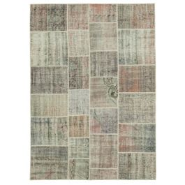 Hand-knotted Turkish Grey Contemporary Patchwork Carpet