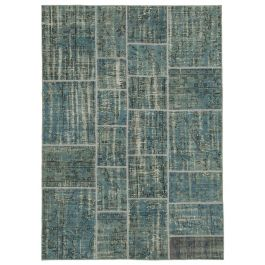 Handwoven Anatolian Blue Rustic Patchwork Rug