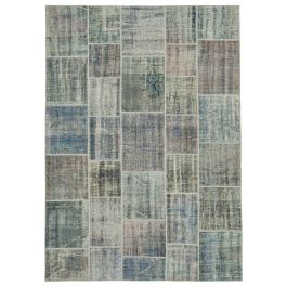 Hand-knotted Oriental Grey Antique Patchwork Carpet