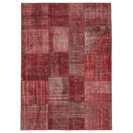 Handmade Oriental Red One-of-a-Kind Patchwork Rug