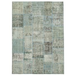 Hand-knotted Turkish Blue Colorful Patchwork Carpet