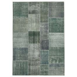 Hand-knotted Anatolian Grey Rustic Patchwork Carpet