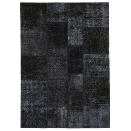 Hand-knotted Turkish Black Low Pile Patchwork Carpet