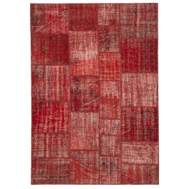 Handwoven Oriental Red Colorful Patchwork Carpet
