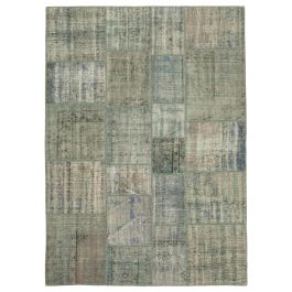 Hand-knotted Anatolian Grey Wool Patchwork Rug