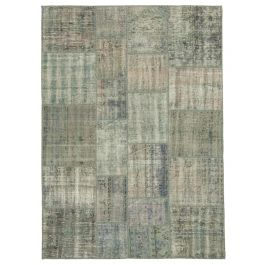 Hand-knotted Turkish Grey Unique Patchwork Rug