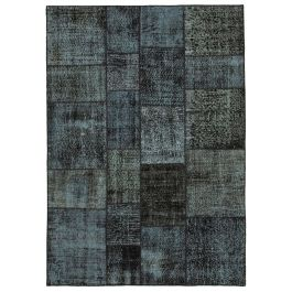 Hand-knotted Anatolian Black Antique Patchwork Rug