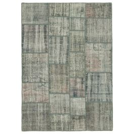 Hand-knotted Turkish Grey Faded Patchwork Carpet