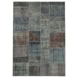 Handwoven Anatolian Grey Colorful Patchwork Carpet