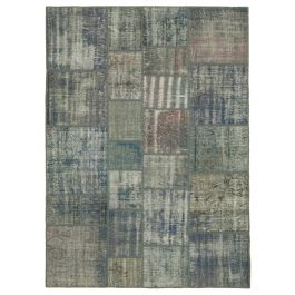 Hand-knotted Anatolian Blue Distressed Patchwork Carpet