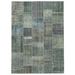 Hand-knotted Turkish Grey Bohemian Patchwork Carpet