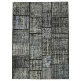 Hand-knotted Anatolian Black Colorful Patchwork Carpet