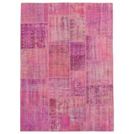 Hand-knotted Anatolian Pink Antique Patchwork Rug