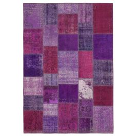 Hand-knotted Turkish Purple Faded Patchwork Carpet