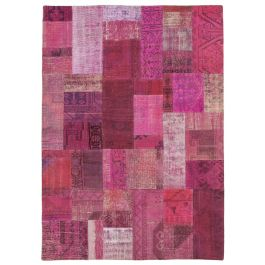 Hand-knotted Anatolian Pink Antique Patchwork Carpet