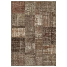 Hand-knotted Oriental Brown Antique Patchwork Rug