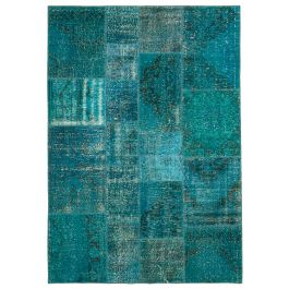 Handmade Anatolian Turquoise One-of-a-Kind Patchwork Rug