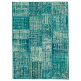Hand-knotted Oriental Turquoise Decorative Patchwork Carpet