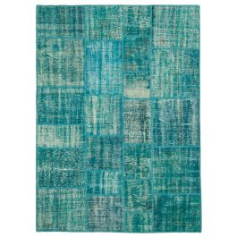 Hand-knotted Anatolian Turquoise Over-dyed Patchwork Rug