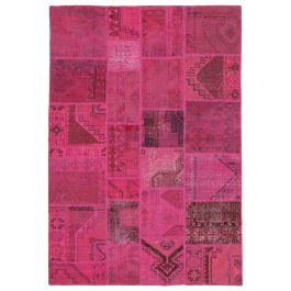 Handwoven Anatolian Pink Colorful Patchwork Carpet