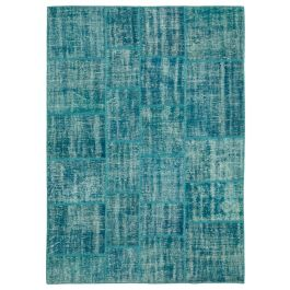 Hand-knotted Oriental Turquoise Rustic Patchwork Carpet