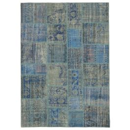 Hand-knotted Turkish Blue Bohemian Patchwork Carpet