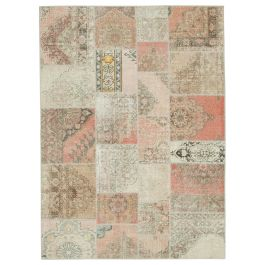 Hand-knotted Anatolian Beige Colorful Patchwork Carpet
