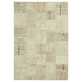 Hand-knotted Oriental Beige Low Pile Patchwork Rug