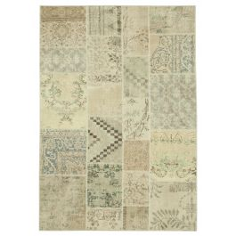 Hand-knotted Anatolian Beige Antique Patchwork Rug