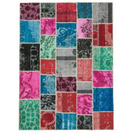 Hand-knotted Turkish Multi Faded Patchwork Carpet