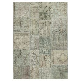Hand-knotted Turkish Grey Over-dyed Patchwork Rug