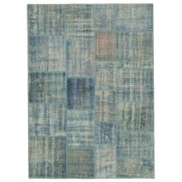 Hand-knotted Turkish Blue Traditional Patchwork Rug