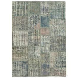 Hand-knotted Oriental Grey Rustic Patchwork Carpet