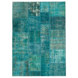 Handmade Turkish Turquoise One-of-a-Kind Patchwork Rug