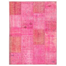 Hand-knotted Oriental Pink Faded Patchwork Carpet
