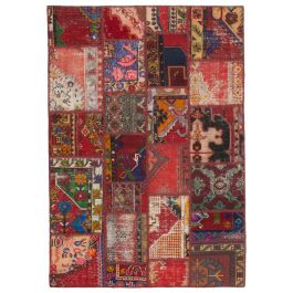 Hand-knotted Anatolian Red Distressed Patchwork Carpet