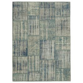 Hand-knotted Turkish Blue Contemporary Patchwork Carpet