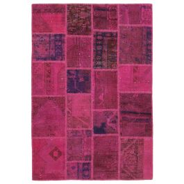 Hand-knotted Anatolian Pink Rustic Patchwork Carpet