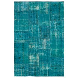 Hand-knotted Anatolian Turquoise Rustic Patchwork Carpet