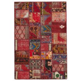 Hand-knotted Turkish Red Unique Patchwork Rug