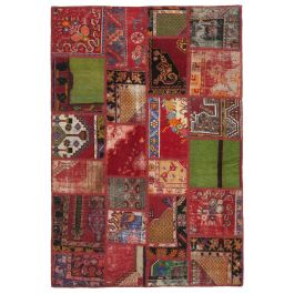 Hand-knotted Turkish Red Bohemian Patchwork Carpet