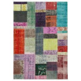Hand-knotted Anatolian Multi Wool Patchwork Rug