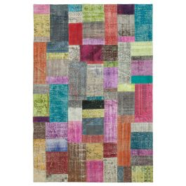 Hand-knotted Turkish Multi Colorful Patchwork Carpet