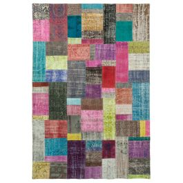 Hand-knotted Turkish Multi Unique Patchwork Rug